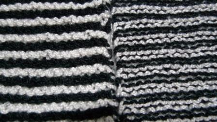 garter stitch in black and white stripes