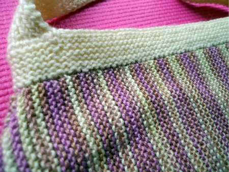 Closeup of garter stitch handbag